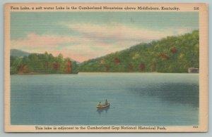 Middleboro KY~Fern Lake~Soft Water Lake~Cumberland Mts~Vintage PC