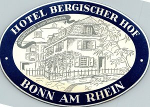 Germany Bonn am Rhein Hotel Bergischer Hof Vintage Luggage Label sk4808