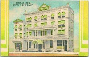 NEWTON, New Jersey Postcard COCHRAN HOUSE HOTEL Street View Linen 1949 Cancel
