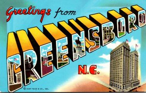 North Carolina Greensboro Greetings Large Letter Chrome
