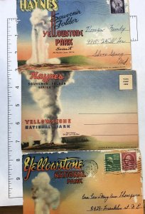 LOT OF 3 HAYNES YELLOWSTONE NATIONAL PARK SOUVENIR POSTCARD FOLDER 1930s VINTAGE