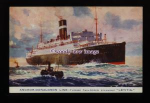LS1443 - Anchor-Donaldson Liner - Letitia - postcard - artist Odin Rosenvinge