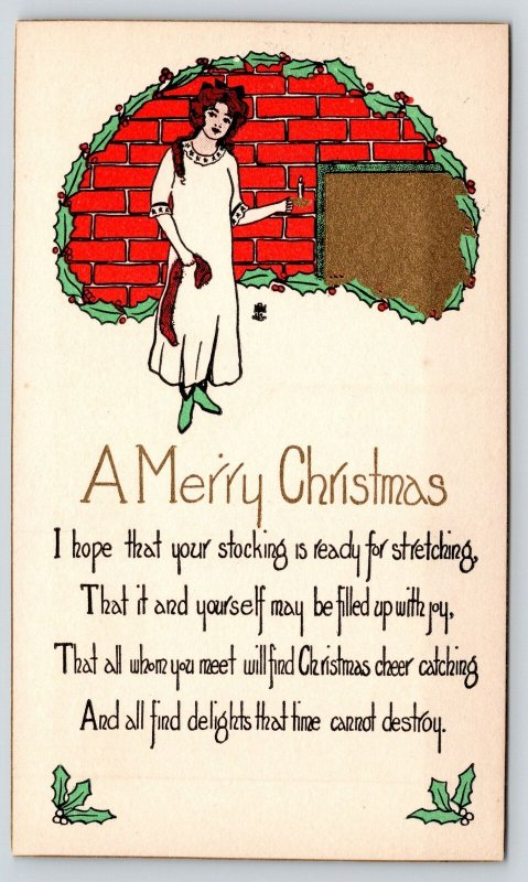 Christmas~ART DECO~Cute Redhead Has Stocking for Stretching~Red Green Gold~1920s