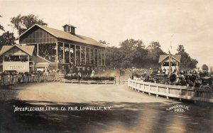 LP26 Lowville New York Vintage Postcard Co Fair Steeplechase RPPC Mandeville