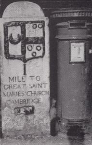 Pillar Letter Box at St Marys Church Sign Cambridge Real Photo Postcard
