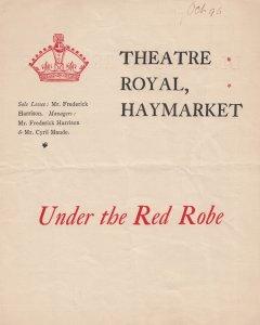 Under The Red Robe Stanley Weyman Romance Haymarket Victorian Theatre Programme