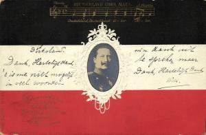 German Emperor Wilhelm II, Empire Flag and Anthem (1902) Embossed Postcard