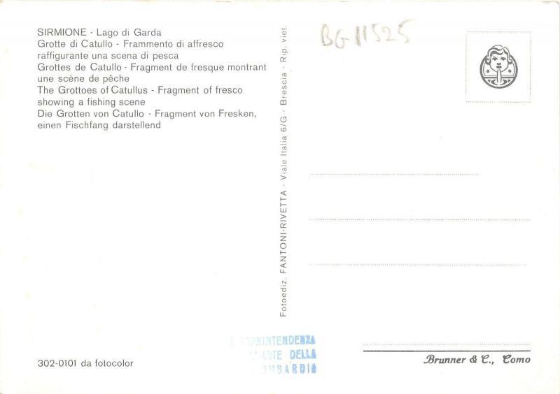BG11525 sirmione frammento di affresco raffigurante scena di pesca art   italy