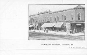 Kendallville Indiana Main Street Scene East Side Antique Postcard K49712
