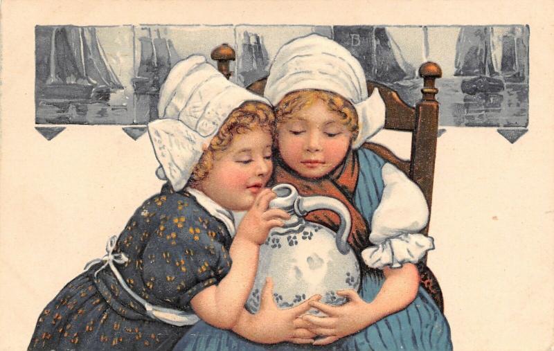 PFB Series 6523~Little Dutch Girl Buddies Look in Water Juge~Tile Back~Embossed