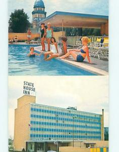 Unused Pre-1980 RISQUE GIRLS AT STATE HOUSE MOTEL Springfield IL s2732@