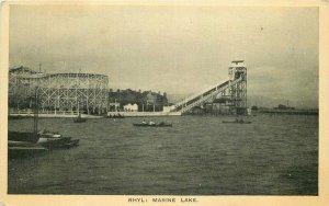Amusement Roller Coaster UK Rhyl Marine Lake 1920s Postcard 8719