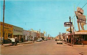 Vintage Postcard Calle Irigoyen Cd. Camargo Chihuahua Mexico Greyhound Bus Depot