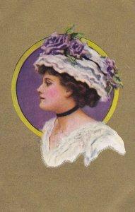 Female Head portrait , Gold background , 00-10s