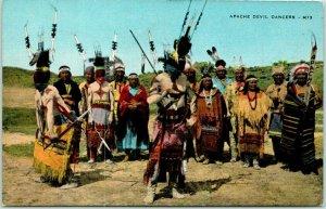 1940s New Mexico Postcard Devil Dance Scene Mescalero Apache Indian Reservation