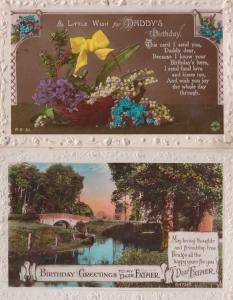Happy Girls Birthday 2x Dog Stool Rainbow Antique Greetings Postcard