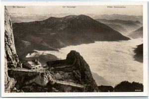 postcard Wendelsteinhaus with sea of fog against south RPPC