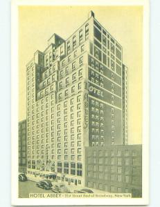 Unused 1930's ABBEY HOTEL New York City NY hr9985-13