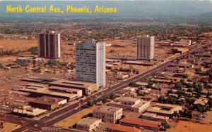 PHOENIX ARIZONA NORTH CENTRAL AVENUE AERIAL PHOTO POSTCARD 1967