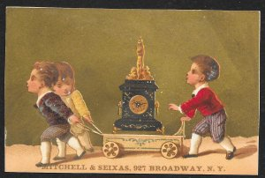 VICTORIAN TRADE CARD Mitchell & Seixas Clocks Three Boys & Large Clock On Cart