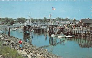 Ogunquit Maine~Perkins Cove~Lady Viewing Bridge~Boats~60s Convertible Car~'65 Pc