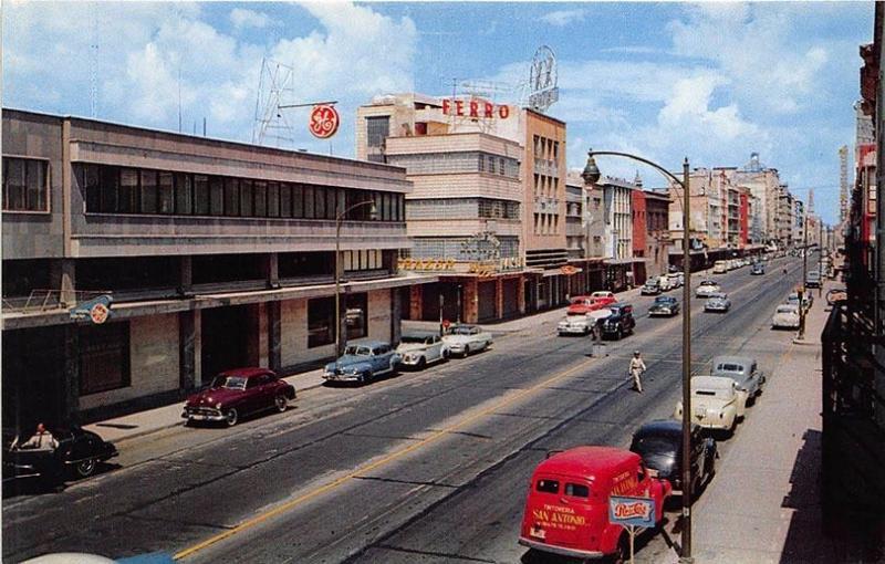 Juarez Mexico Pepsi Cola Sign Street Vue Store Fronts Old Cars Postcard