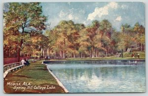 Mobile AL~Gentlemen on Bench Near Spring Hill College Lake~TUCK Oilette~1907