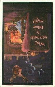 Artist impression Elk Fraternal Fireside Romance 1911 Postcard XL Series 20-1279