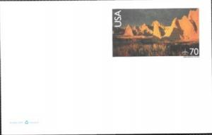 US Postcard Mint Airmail. Badlands National Park, South Dakota.  Issued in 2000