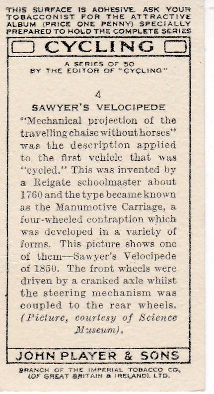 Cigarette Cards Players CYCLING No 4 Sawyer's Velocipede