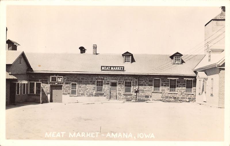 Amana IA Grain Elevator Next to Meat Market~Meter Boxes by the Door RPPC c1950