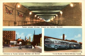 Michigan Detroit Tunnel Entrance Tunnel Buses and Tunnel To Windsor Canada