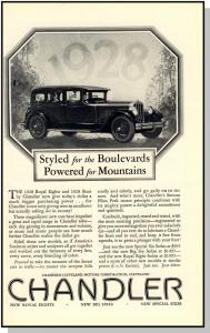 Elegant 1928 Chandler Car/Auto/Automobile Ad, Royal Eights