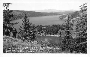 F26/ Lake Couer D'alene Idaho RPPC c50s Postcard Blue Creek Bay