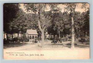 Battle Creek MI, View Of McCamley Park, Bench, Vintage Michigan Postcard