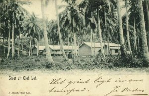 indonesia, SUMATRA, OLEH-LEH, Aceh Atjeh, Sheds between Palm Trees 1902 Postcard