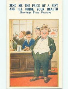 Bamforth Comic MAN DRINKING AT THE BAR AB9871