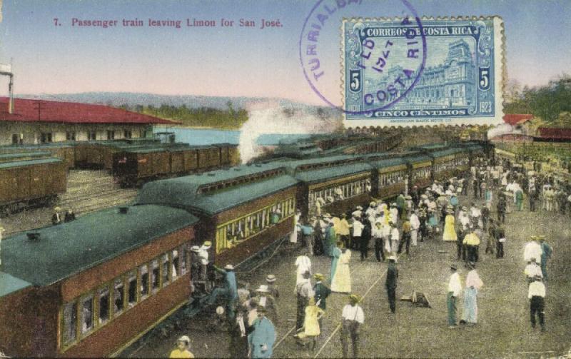 costa rica, LIMON, Passenger Train leaving Railway Station for San José (1924)