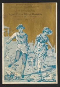 VICTORIAN TRADE CARD Addisons Shoe House Girl & Boy Carrying Water Pail c1890