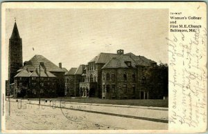 Baltimore, Maryland Postcard Woman's College and First M.E. Church 1907 Cancel