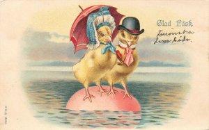 LP98 Easter Postcard Glad Pask PU1903 Chicks Floating Egg Umbrella Dressed hats