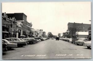 Traer Iowa~Main Street~Wayne's Fine Goods~First Nat'l Bank~1950s Cars~RPPC