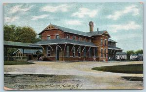 Postcard NJ Rahway PRR Pennsylvania Railroad Station Depot 1909 View M08