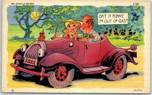 RAY WALTERS Comic Postcard We Should Worry Curteich Linen AUTO COMICS C-160