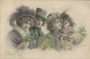 Merry Christmas Art Nouveau People 04.78