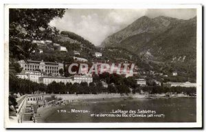 Old Postcard Menton The Beach Sablettes and the Cradle or Doc d & # 39Ormea