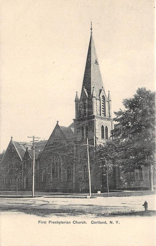 Cortland New York~First Presbyterian Church~Trolley Tracks in Street~1905 PC