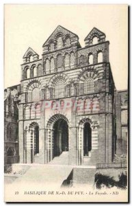 Basilica of Nd Puy Old Postcard The front