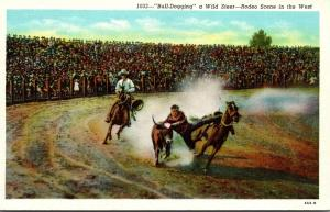Rodeo Scene In The West Bull-Dogging A Wild Steer