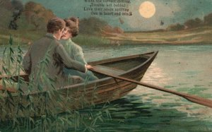 Vintage Postcard 1909 Whith the Current Drifting Trouble Left Behind Couple Boat
